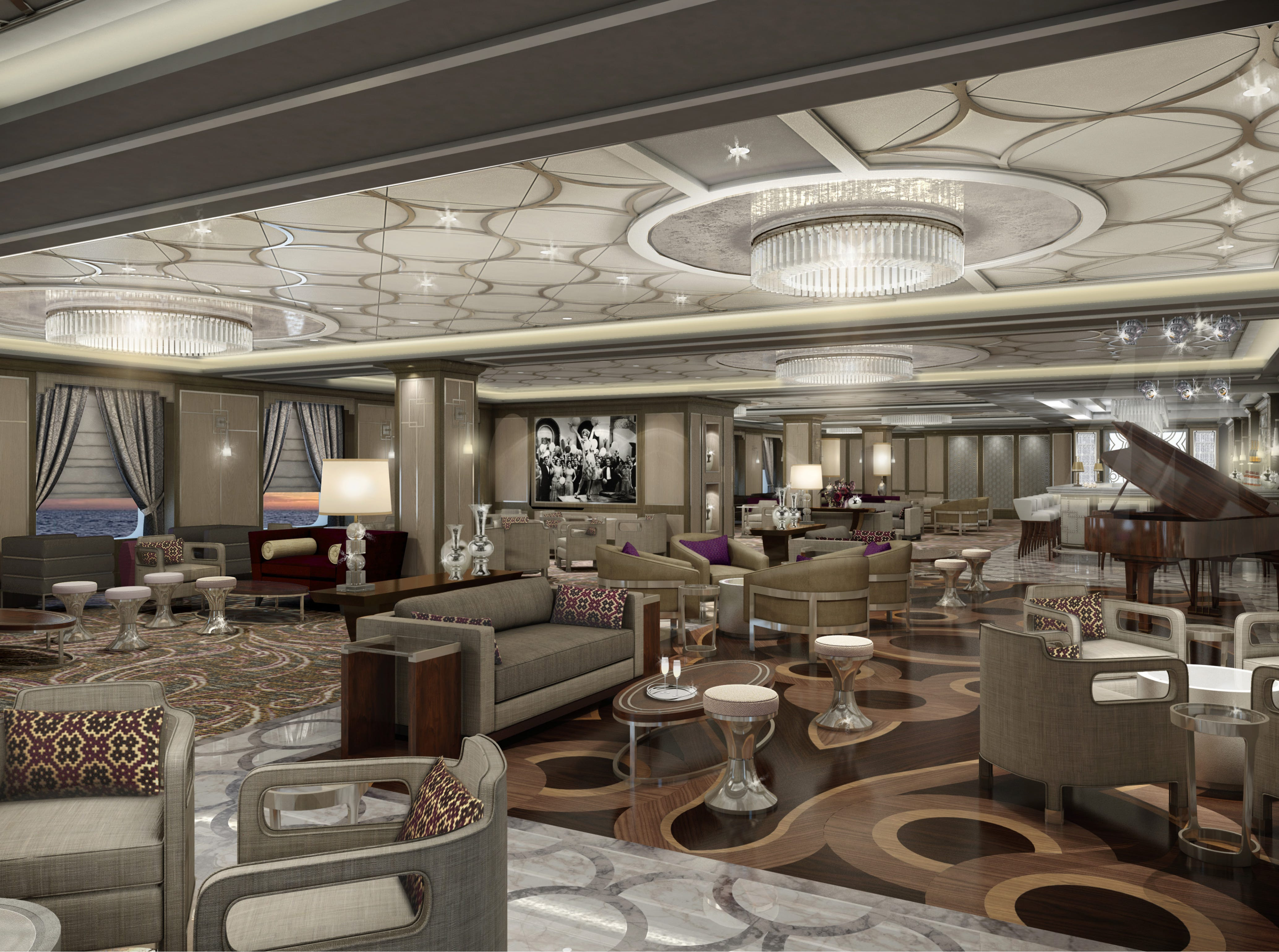 A new-for-Princess venue on Sky Princess will be Take Five, a jazz lounge that will feature live music from a pianist and a jazz band.