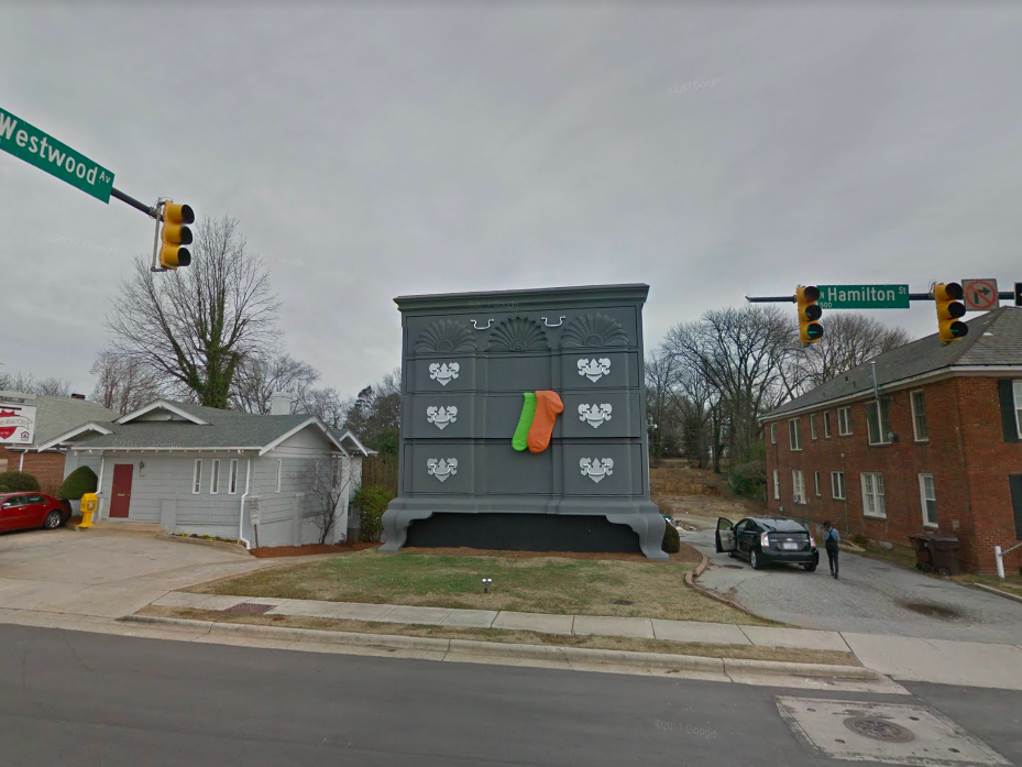 """North Carolina: A gigantic chest of drawers sits at the corner of Westwood   Avenue and Hamilton Street in High Point, """"the home furnishings capital of the world."""""""