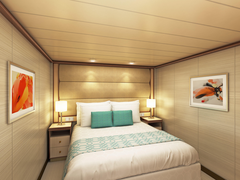 An artist's drawing of an inside cabin on Sky Princess.