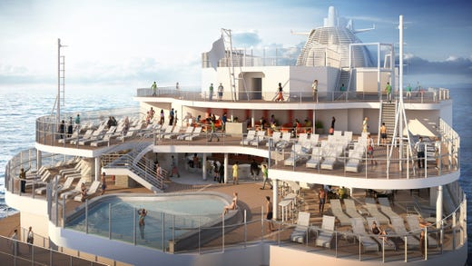 At the back of Sky Princess, passengers will find the infinity-style Wakeview pool, lounge seating and a bar -- all with spectacular views of the horizon.
