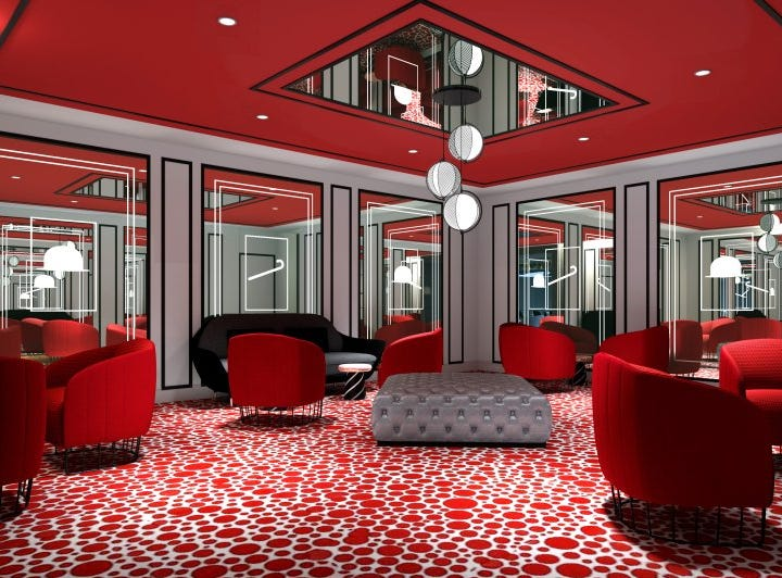 """The """"red room"""" planned for the Social Comedy & Night Club on Norwegian Encore."""