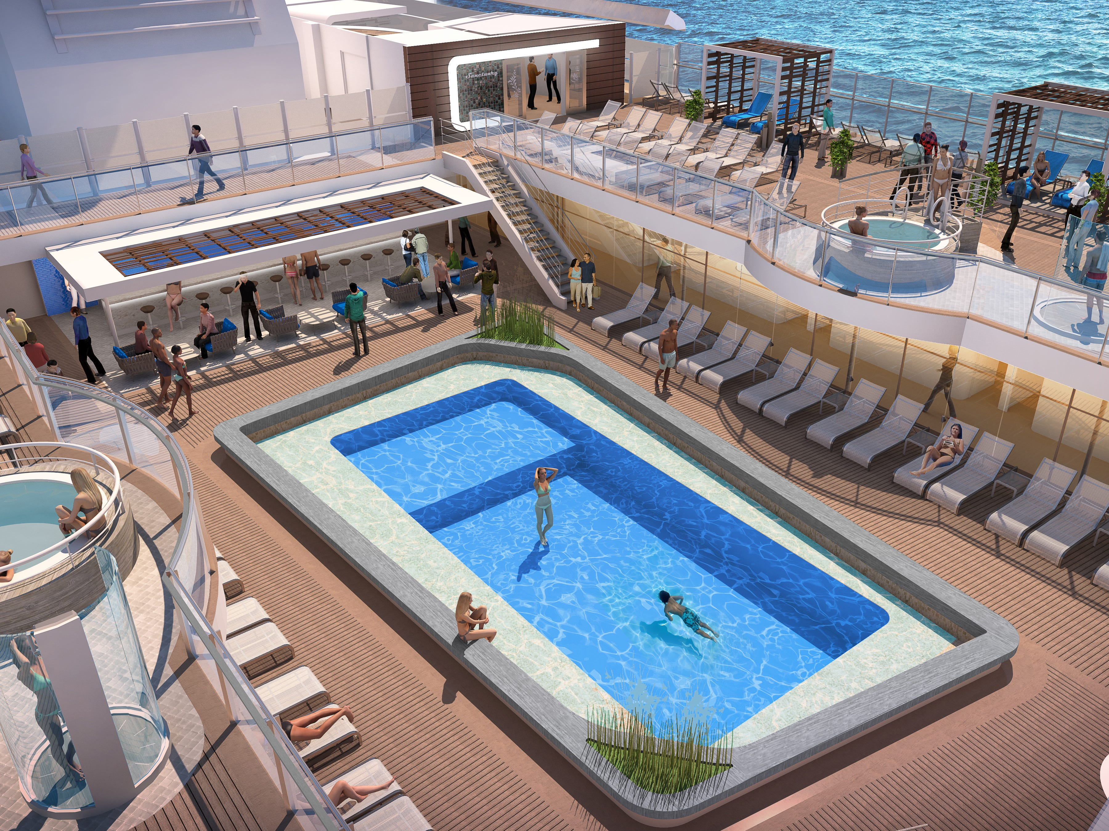 An artist's drawing of the Retreat Pool on Sky Princess.