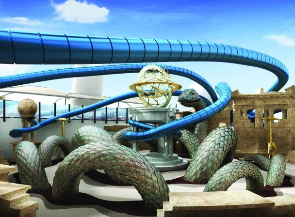 Norwegian Encore also will have a laser tag area themed around the  lost city of Atlantis with faux ruins and sea creature tentacles.
