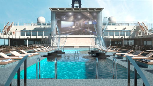 The Atmosphere Pool area on MSC Bellissima will have a giant movie screen.