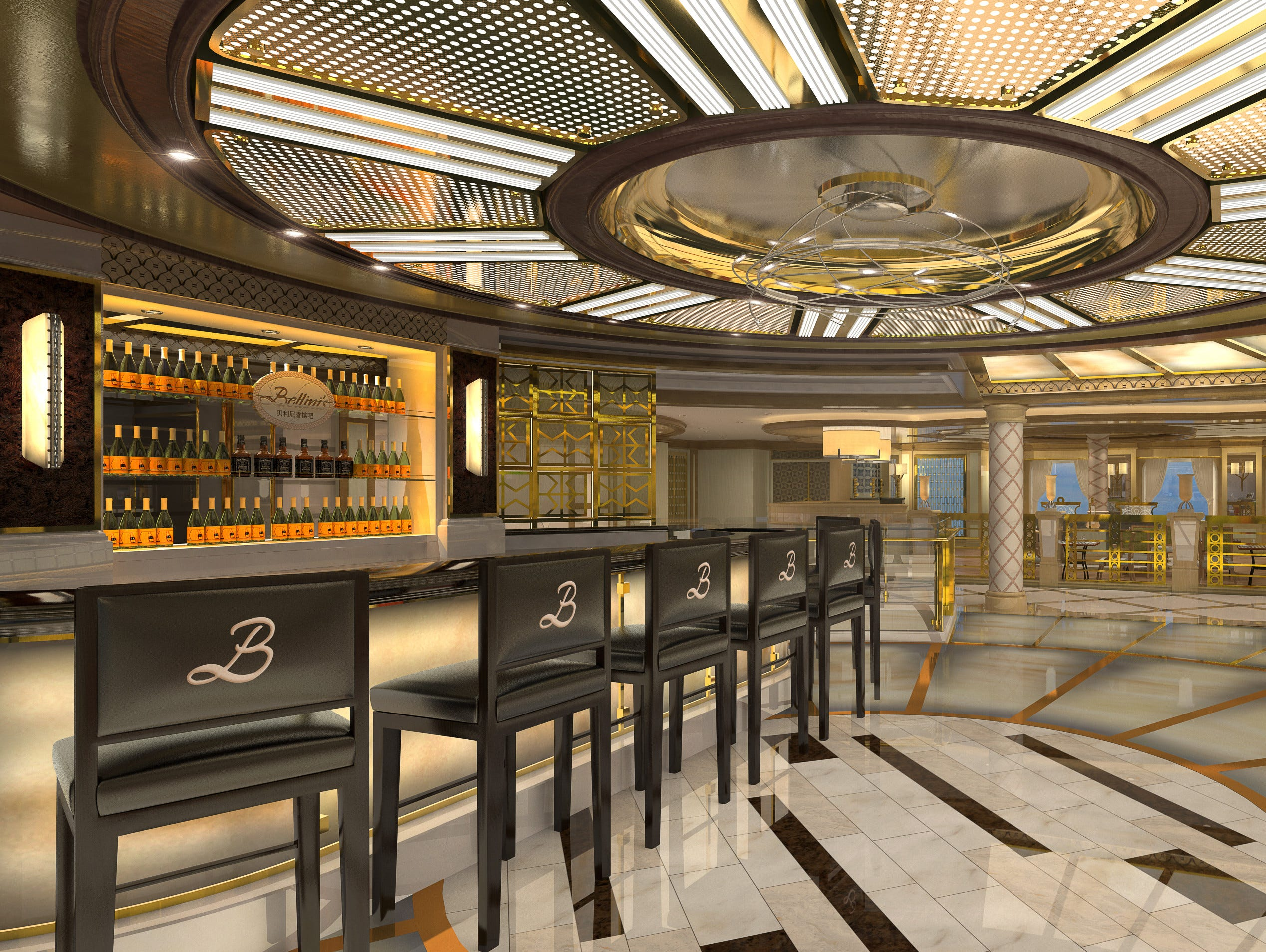 Among bars and cafes found around the Piazza on Sky Princess will be Bellini's.