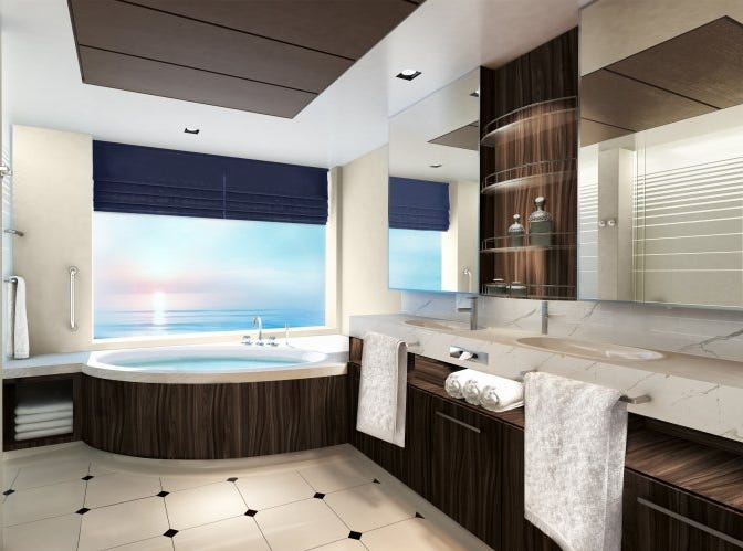 An artist's drawing of the bathroom planned for the Family Villa in the Haven suite area on Norwegian Encore.