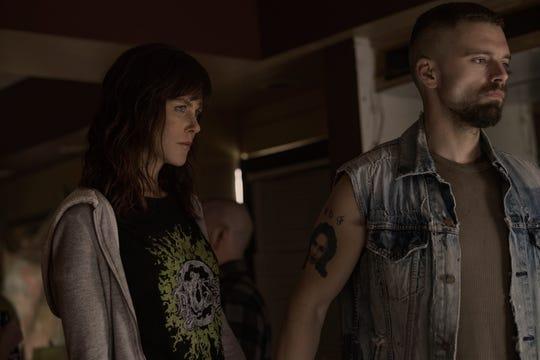 "Young cop Erin Bell (Nicole Kidman) and her FBI partner Chris (Sebastian Stan) infiltrate a gang in ""Destroyer."""