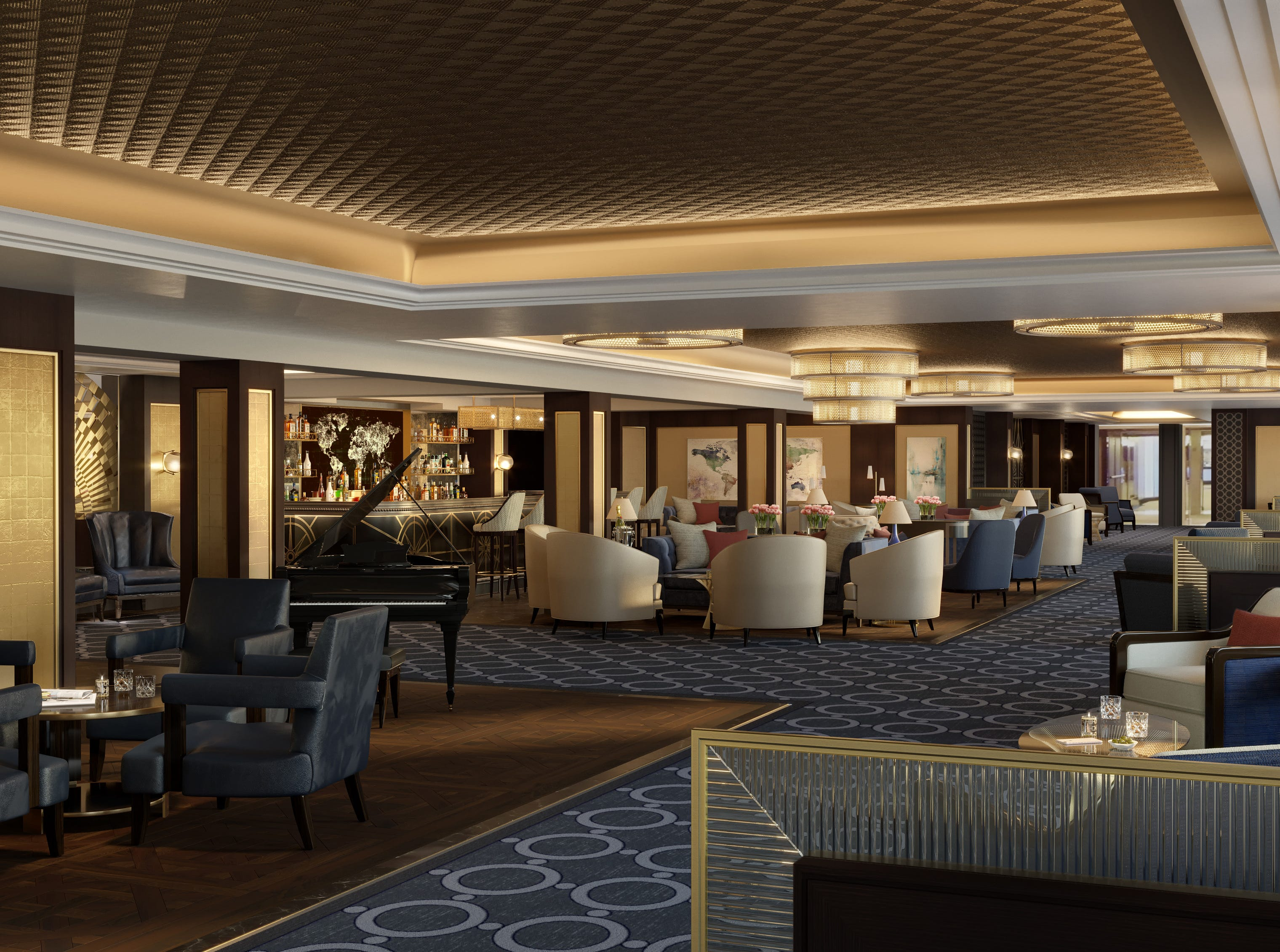 The Crown Grill Bar on Sky Princess will be a stylish hideaway adjacent to the ship's signature Crown Grill steakhouse.