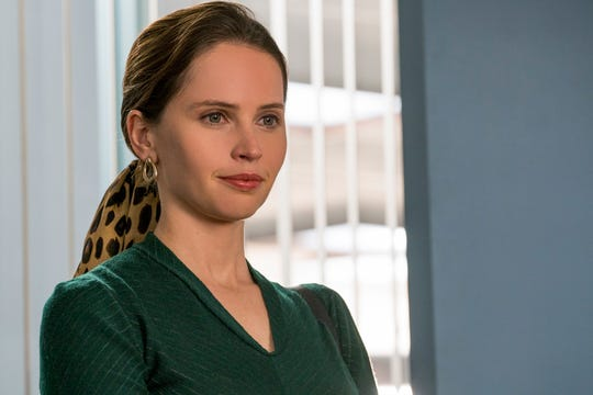In addition to changing her voice, Felicity Jones wore caps on her teeth and gray contact lenses to look more like Ruth Bader Ginsburg as a young woman.