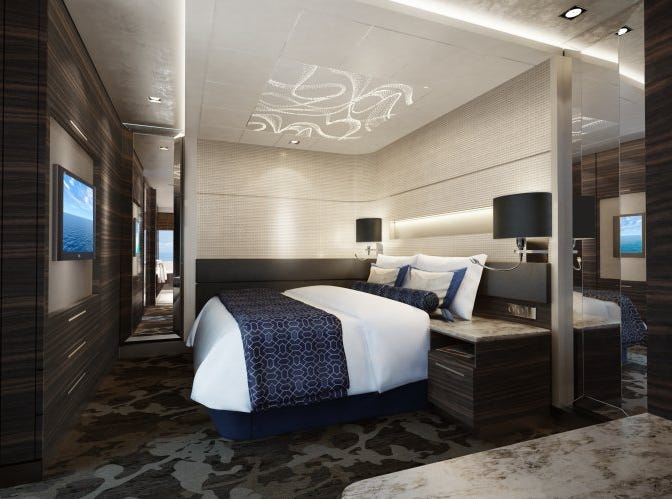 An artist's drawing of a bedroom planned for the Family Villa in the Haven suite area on Norwegian Encore.