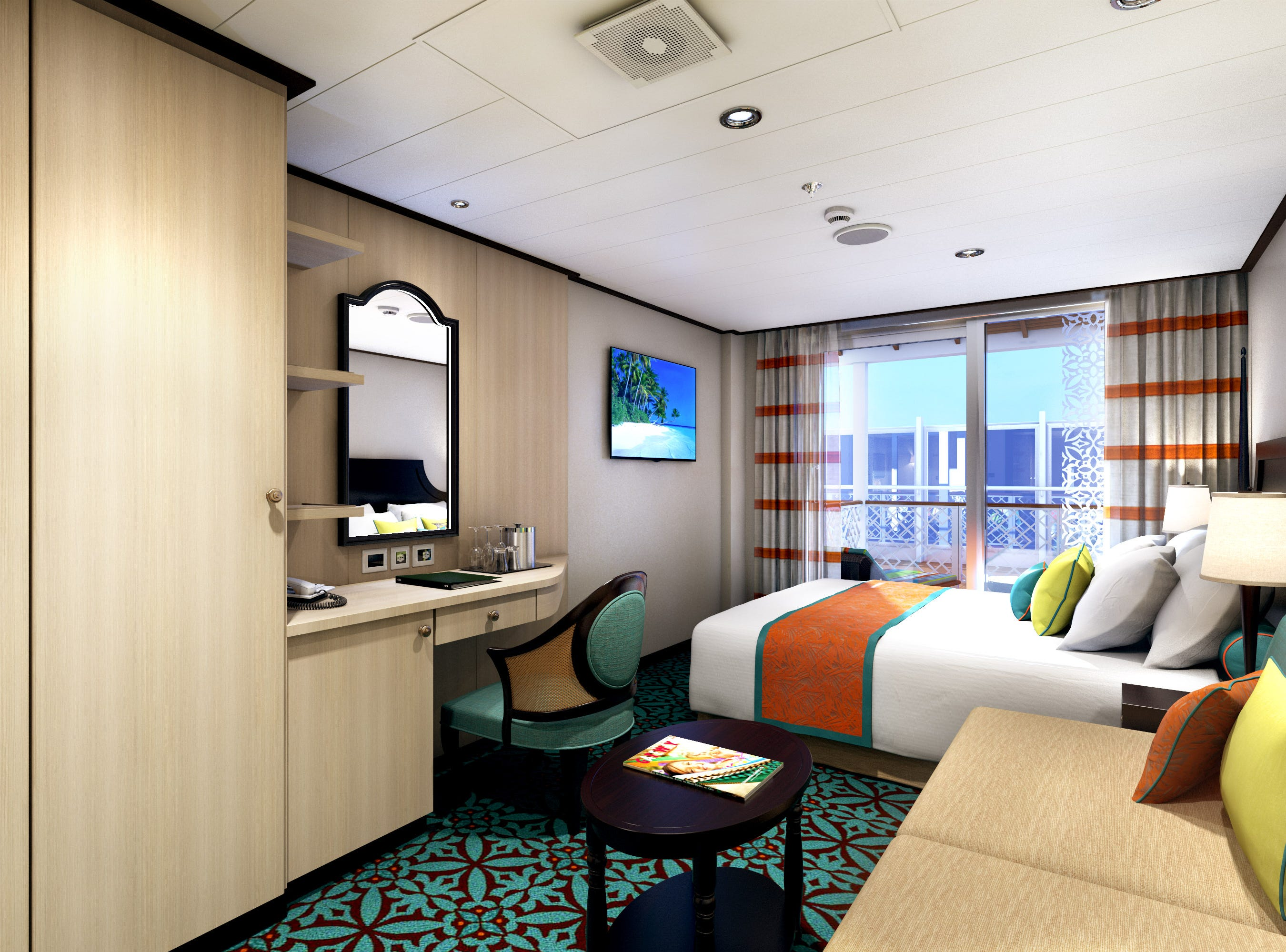 "An artist's drawing of one of the ""Havana Cabin"" category rooms planned for Carnival Panorama."