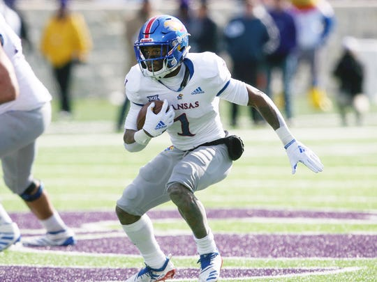 Kansas running back Pooka Williams Jr. was been suspended after a domestic violence charge in December.