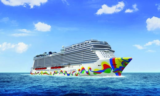 Featuring colorful hull art designed by Spanish artist Eduardo Arranz-Bravo, Norwegian Encore will be the fourth and final ship in Norwegian Cruise Line's Breakaway Plus class.