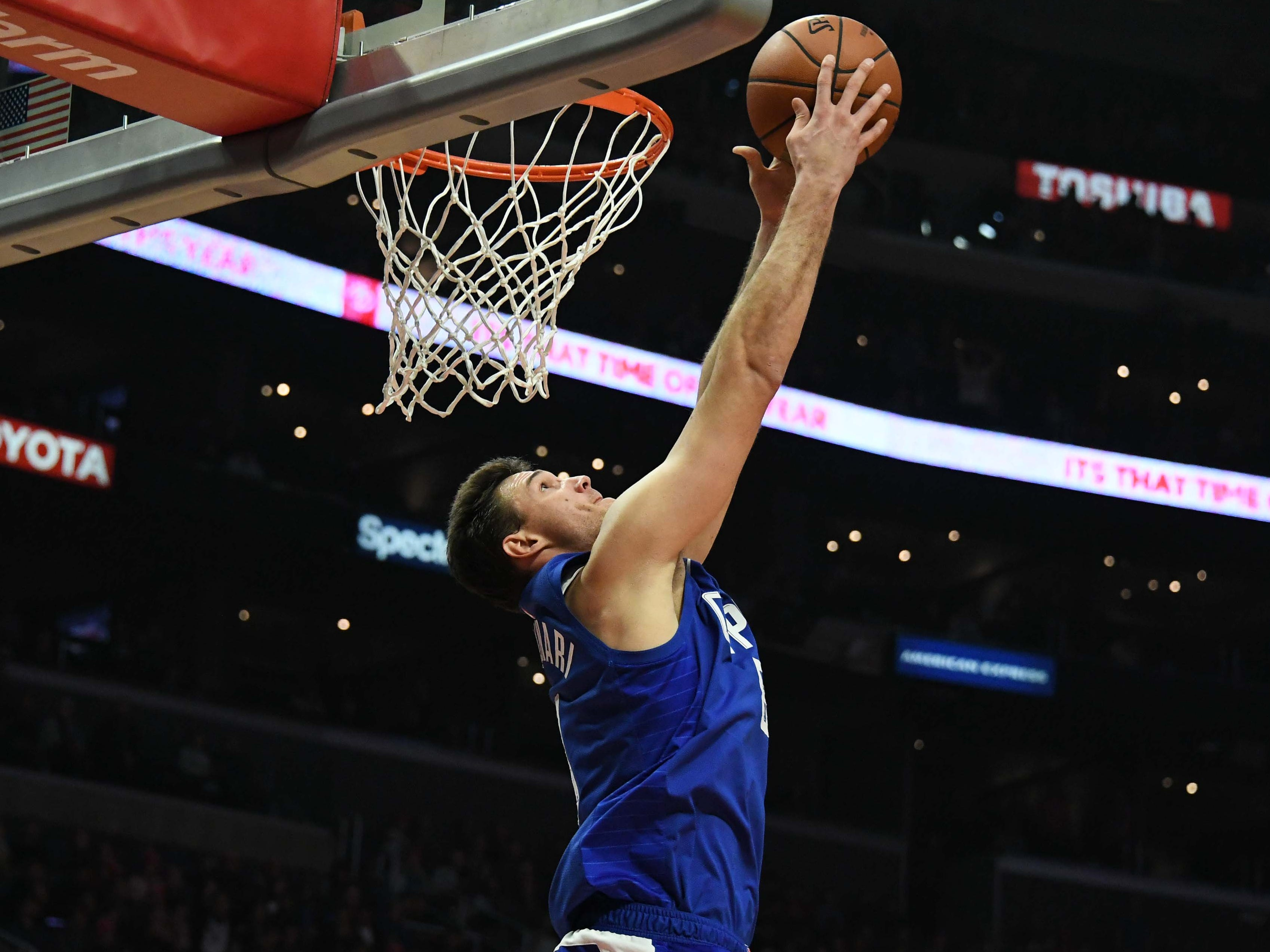 Dec. 20: Clippers forward Danilo Gallinari throws down a two-handed reverse during the second half in Los Angeles.