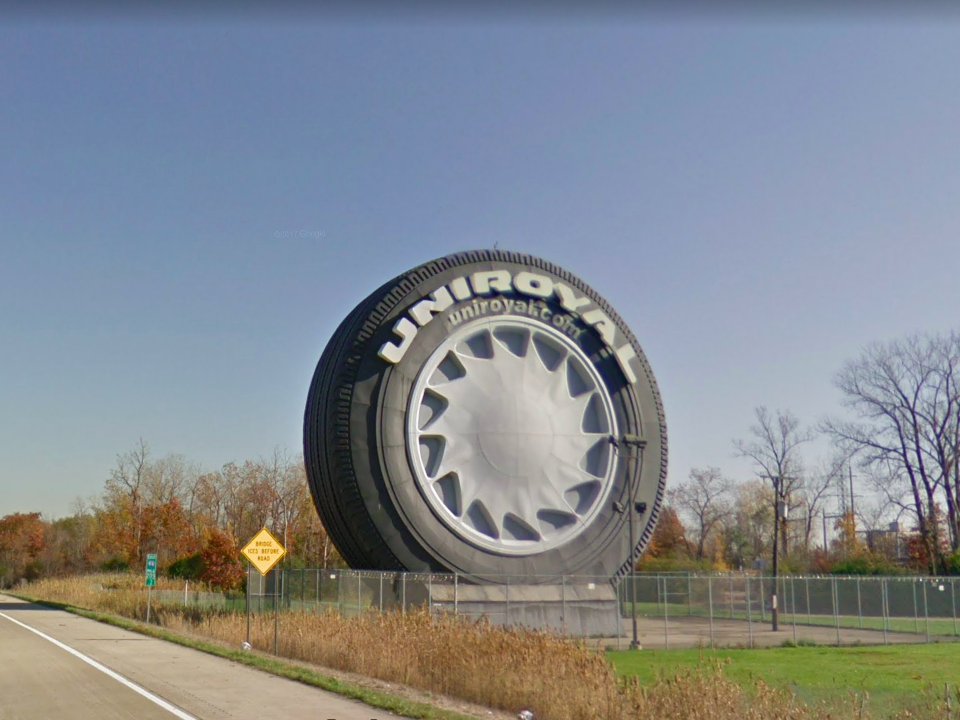Michigan: Originally built as a Ferris wheel for the 1964 World's Fair in New York , this huge Uniroyal tire now greets drivers passing through Allen Park.