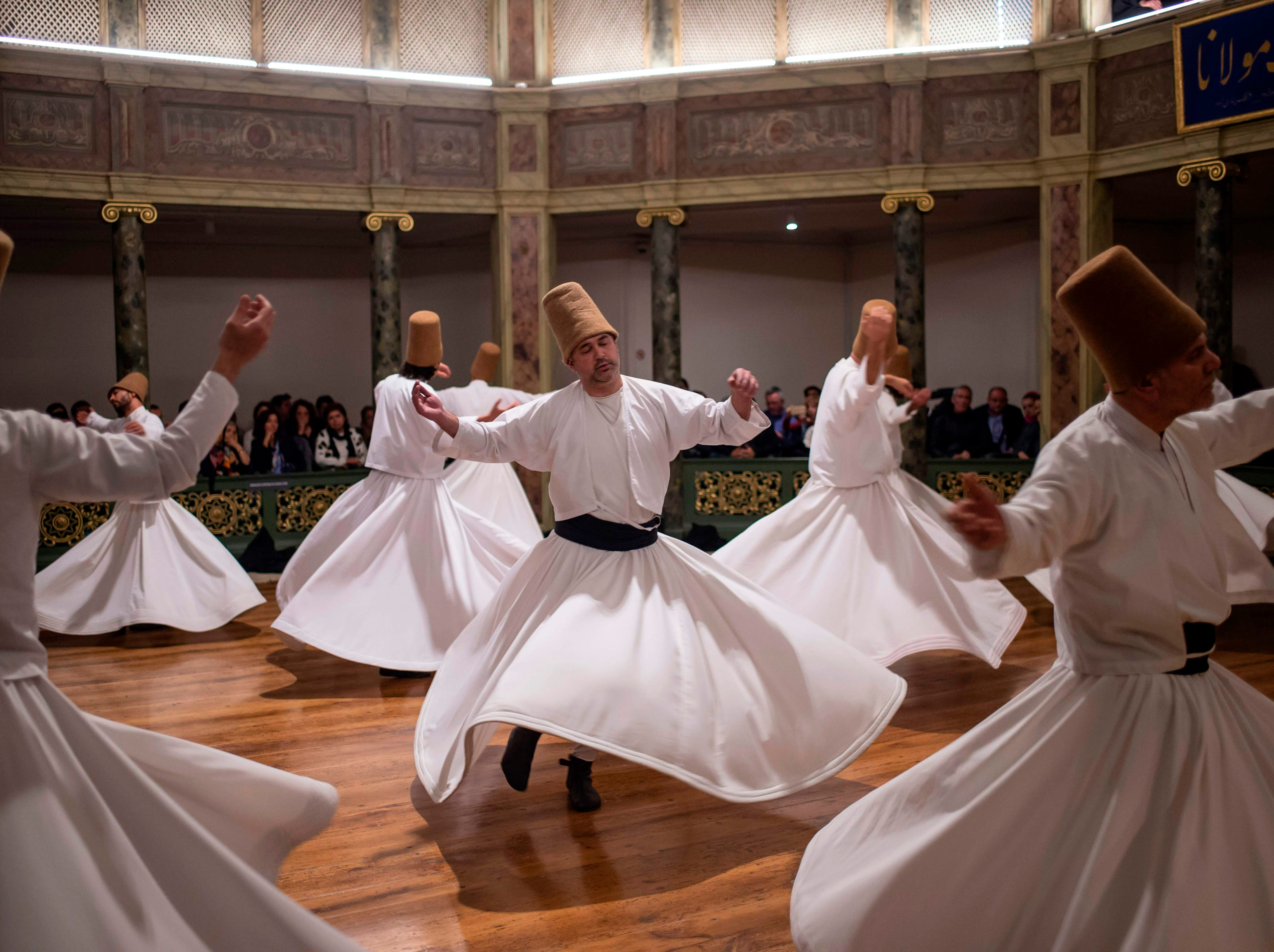 Dec. 16, 2018: Whirling dervishes perform during a ceremony marking the anniversary of the death of Jelaleddin Mevlana Rumi, Sufi mystic, poet and founder of the sufism at Galata Mevlihanesi in Istanbul. The dervishes are adepts of Sufism, a mystical form of Islam that preaches tolerance and a search for understanding. Those who whirl, like planets around the sun, turn dance into a form of prayer.