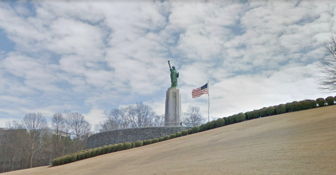 Alabama: Sightseers don't have to go all the way to NYC to view a Statue of Liberty. There is a miniature version of Liberty Enlightening the World off of I-458 in Birmingham.