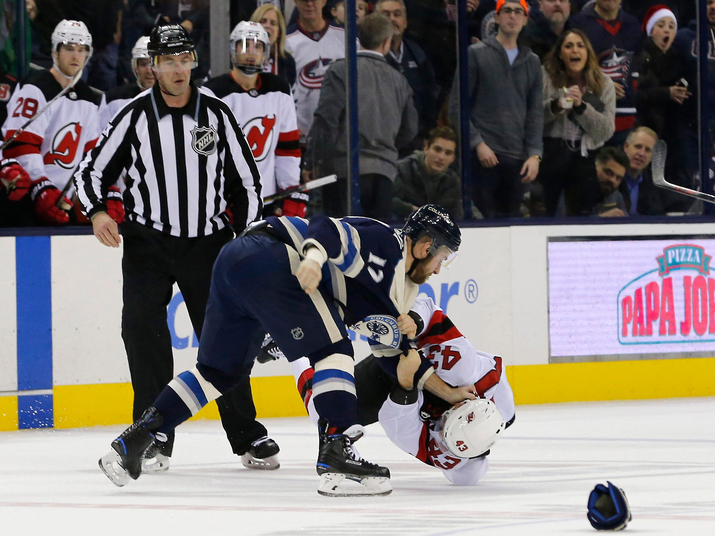 Dec. 20: Columbus Blue Jackets' Brandon Dubinsky vs. New Jersey Devils' Brett Seney