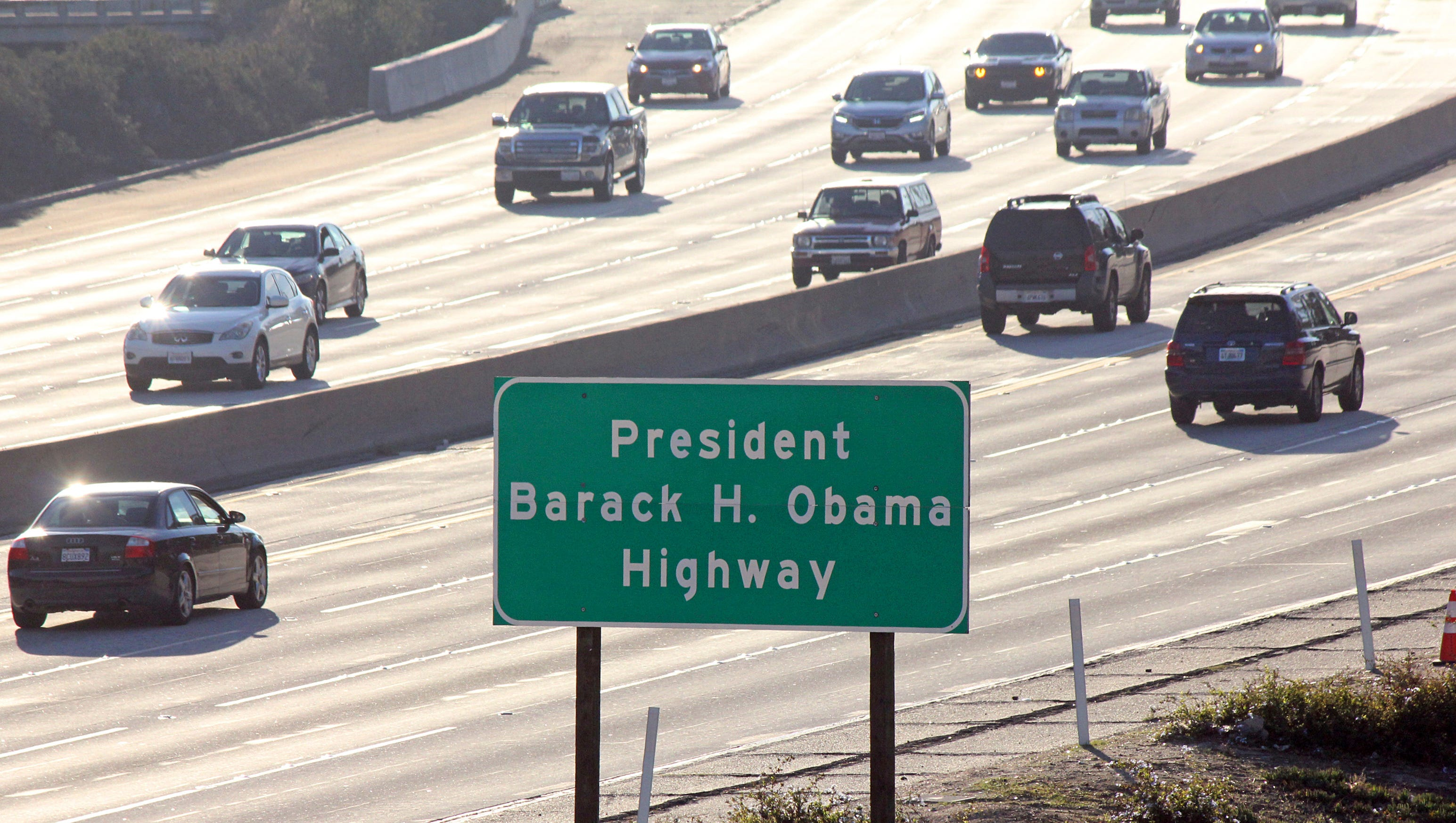 Signs have gone up naming a section of State Route 134 near Los Angeles as the President Barack H. Obama Highway.