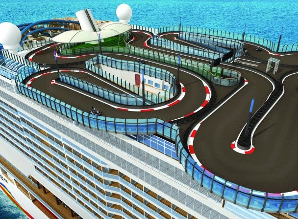The go-kart race course on Norwegian Encore will extend over the sides of the ship in four places.