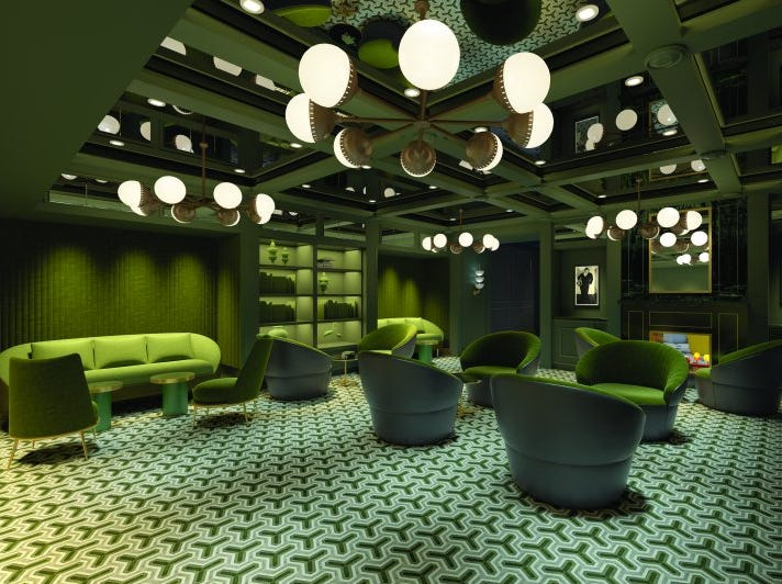 """The """"green room"""" planned for the Social Comedy & Night Club on Norwegian Encore."""