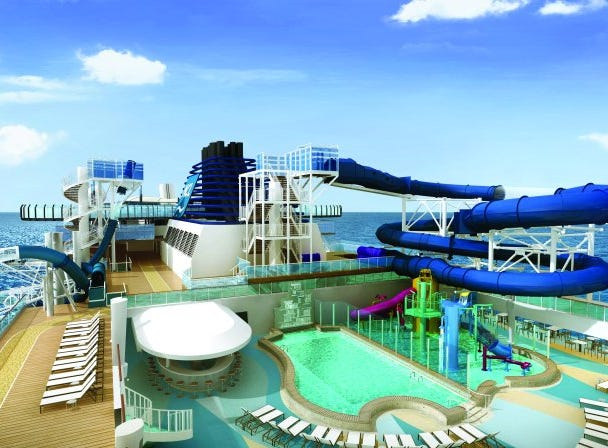 The main pool of Norwegian Encore will be flanked by two giant water slides.
