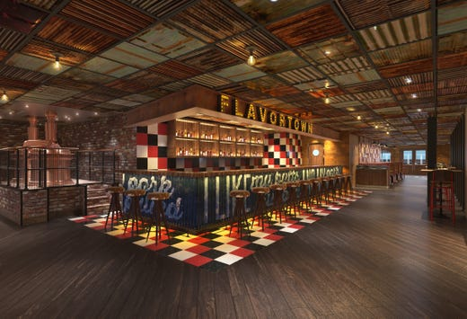 An artist's drawing of the Guy's Pig & Anchor Bar-B-Que Smokehouse planned for Carnival Panorama.