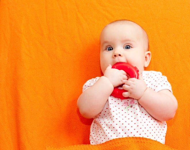 The American Academy of Pediatrics advises using teething rings made of firm rubber to help soothe teething pain.