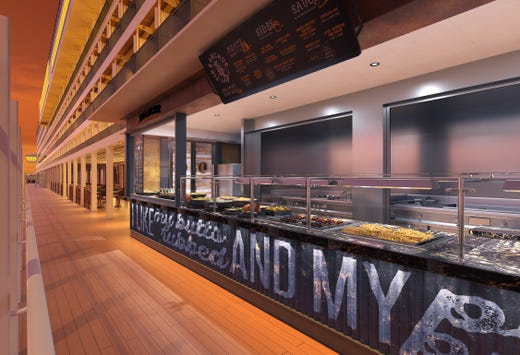 Like the recently unveiled Carnival Horizon, Carnival Panorama will be home to a Guy's Pig & Anchor Bar-B-Que Smokehouse.