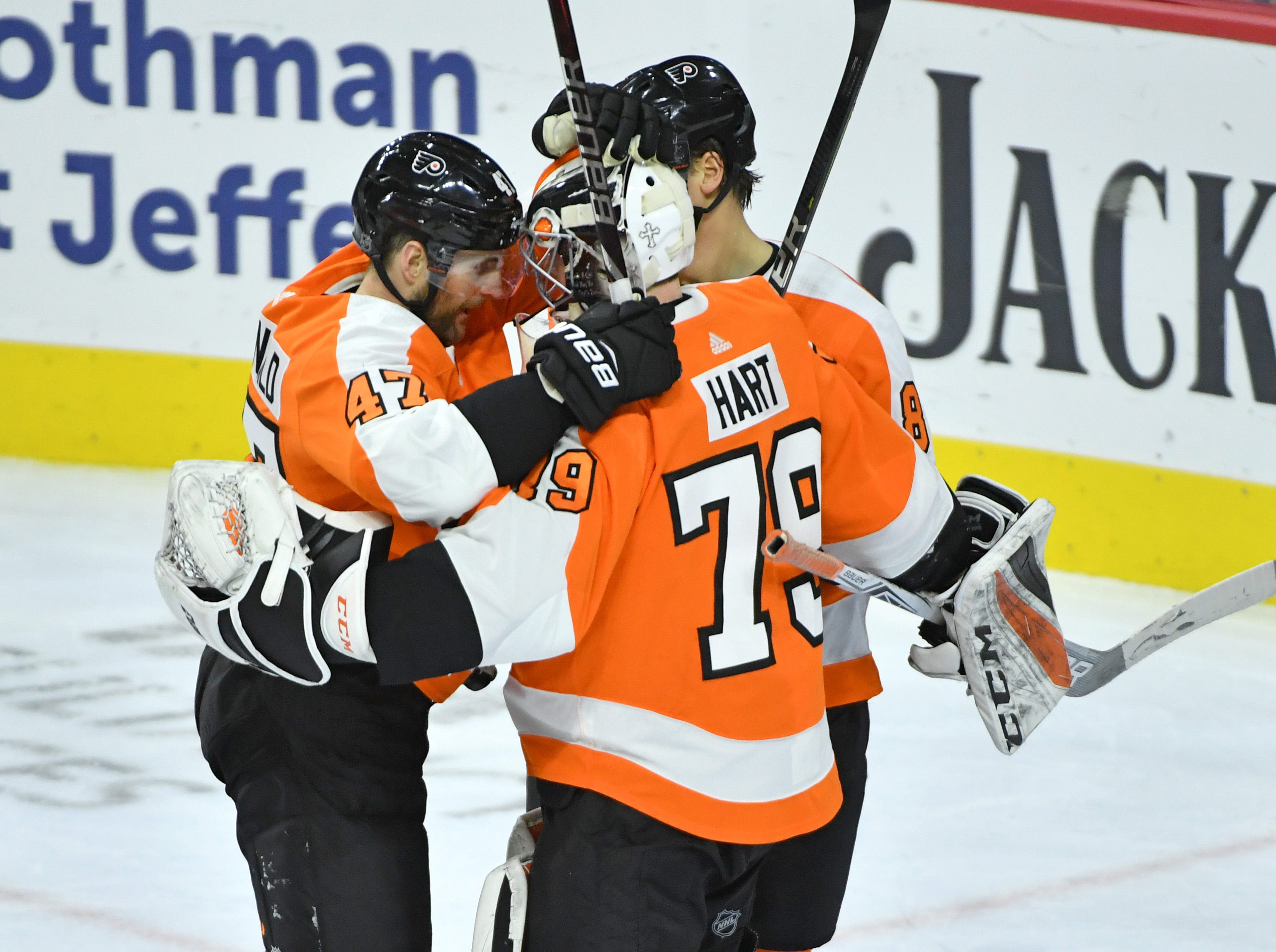 Dec. 20: Philadelphia Flyers goaltender Carter Hart (79) is congratulated after a 2-1 win against the Nashville Predators. Hart, 20, became the seventh-youngster to win his first two career starts.