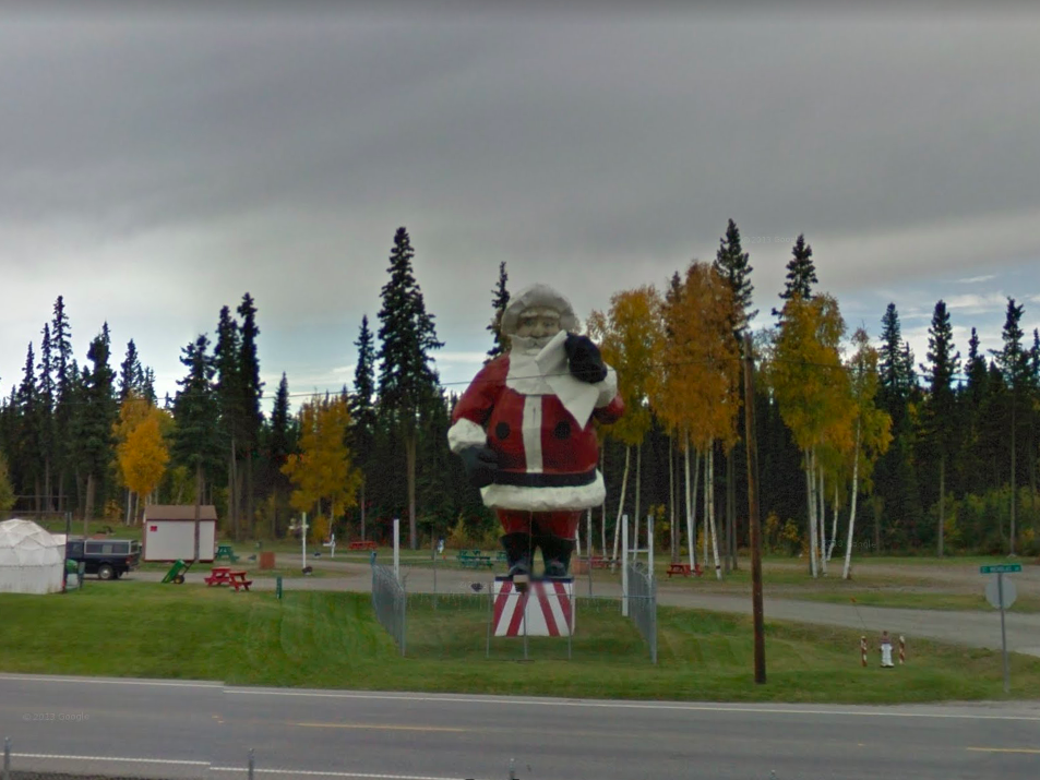 Alaska: This Santa statue stands tall all year long outside Santa Claus House off of  Route 2 in North Pole.