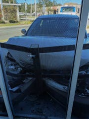 A silver sedan nearly smashed through the window Saturday morning at Downtown Diner in Titusville. Tina Saggio captured the image.