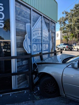 A car cash into the Downtown Diner Saturday morning could have been much worse. Tina Saggio was there and captured the image.