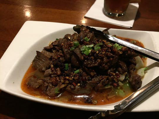 Water beef served at A Single Pebble in Burlington.