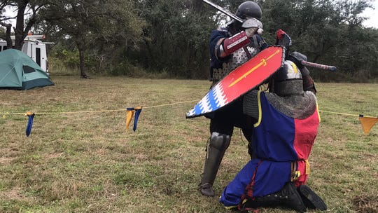 Members of the Shire of Seawinds participate in chivalric combats, which was a similar fighting style practiced in the Middle Ages.