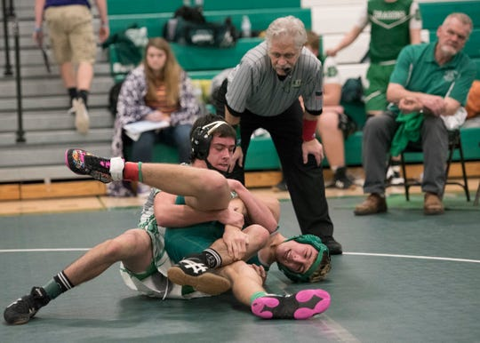 Huntington's Cody Thomas defeated Fairland's Jacob Sudlow in a 132-pound match at the 2018 Huntington Holiday Classic. Thomas finished the night as the overall weight class winner and took home the honor of most valuable wrestler.