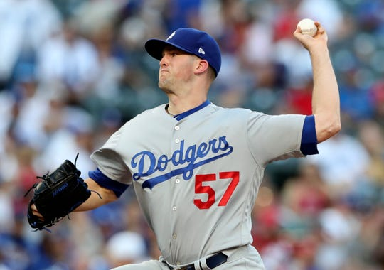 Aug 29, 2018; Arlington, TX, USA; Los Angeles Dodgers starting pitcher Alex Wood (57) throws during the first inning against the Texas Rangers at Globe Life Park in Arlington. Mandatory Credit: Kevin Jairaj-USA TODAY Sports