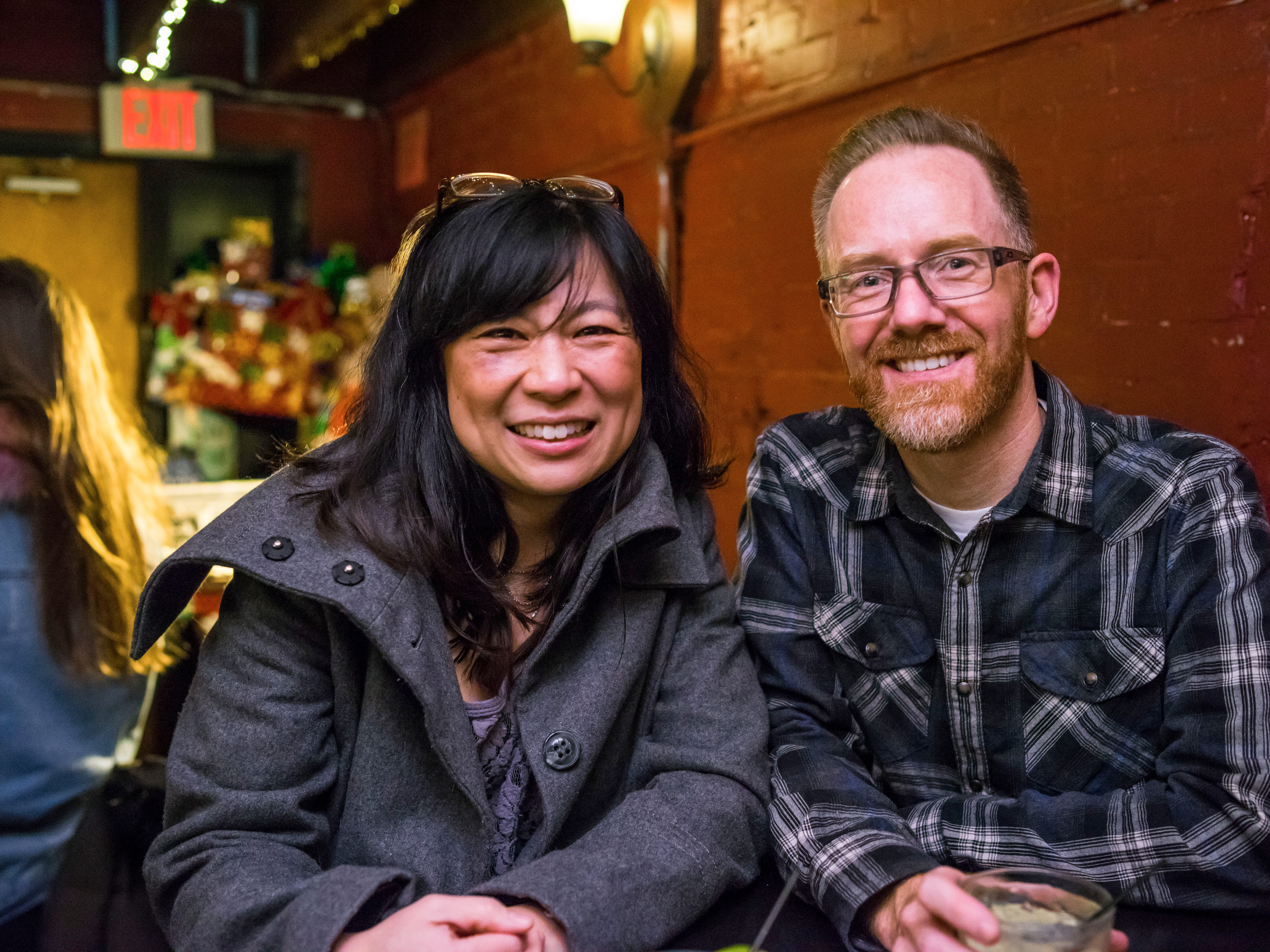 Laura Chavez, 42, and Paul Bruski, 48, both of Des Moines, having a good time, Friday, Dec. 21, at Vaudeville Mews.