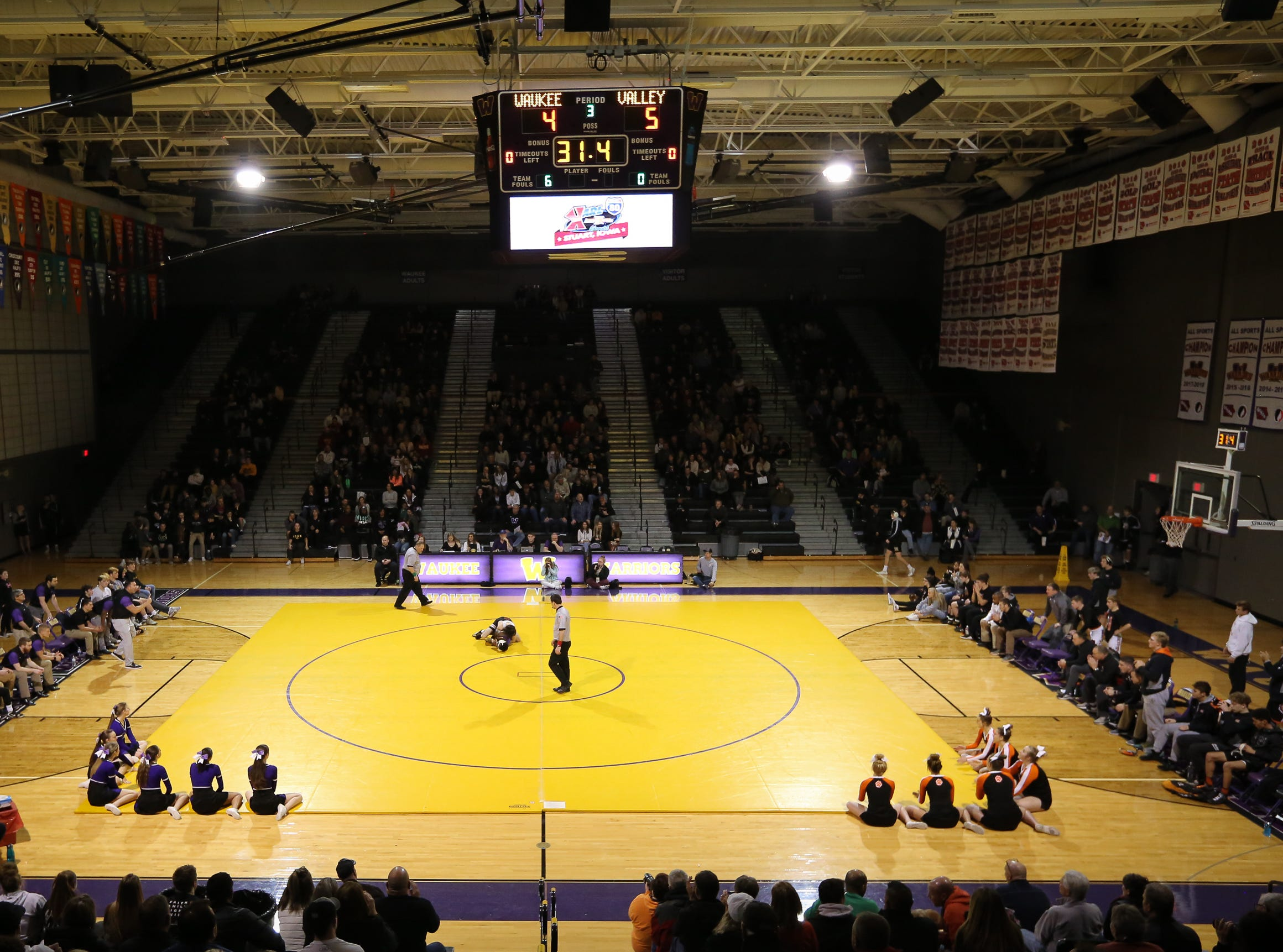 A general view of the Waukee High School gym during a high school wrestling meet between the Valley Tigers and the Waukee Warriors at Waukee High School on Dec. 20, 2018 in Waukee, Iowa.