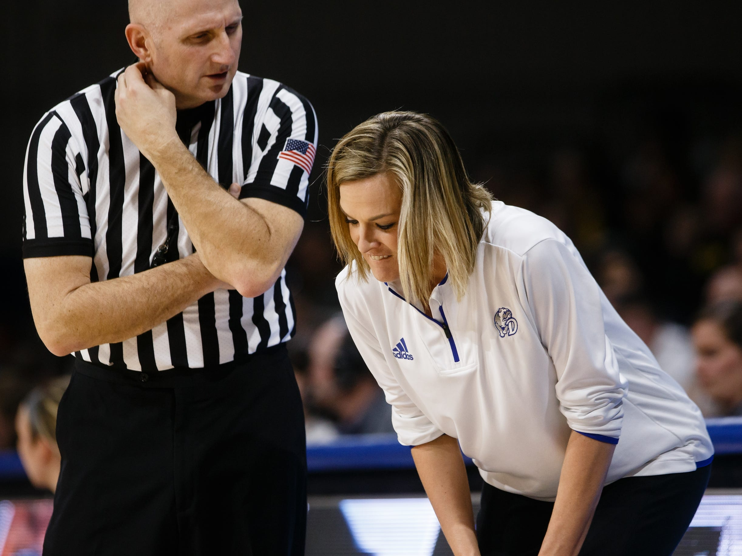 Drake head coach Jennie Baranczyk argues a call during their basketball game on Friday, Dec. 21, 2018, in Des Moines. Iowa would go on to defeat Drake 91-82.
