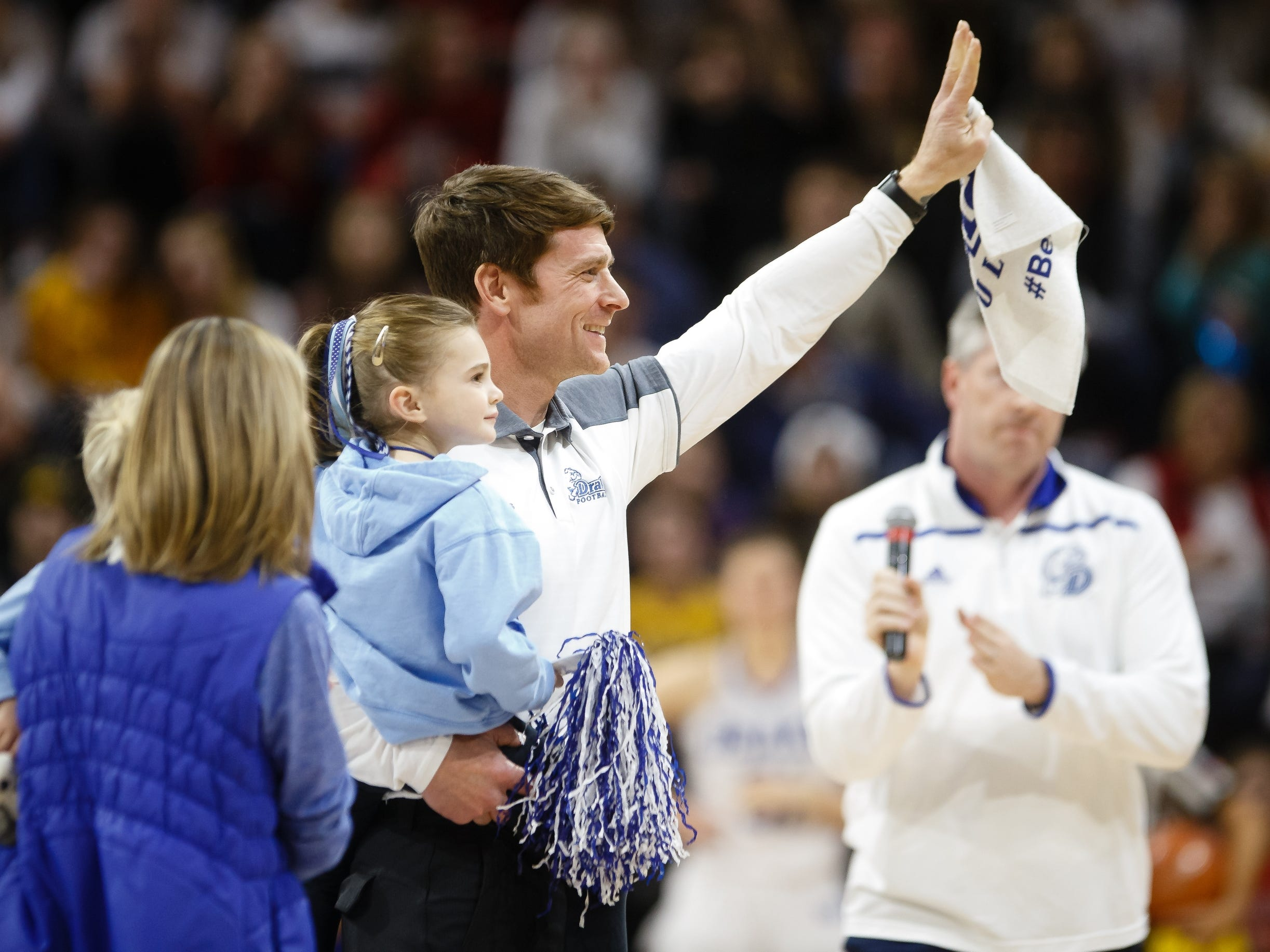 New Drake football head coach Todd Stepsis is introduced during the first quarter of Drake's women's basketball game on Friday, Dec. 21, 2018, in Des Moines. Drake takes a 45-43 lead into halftime.