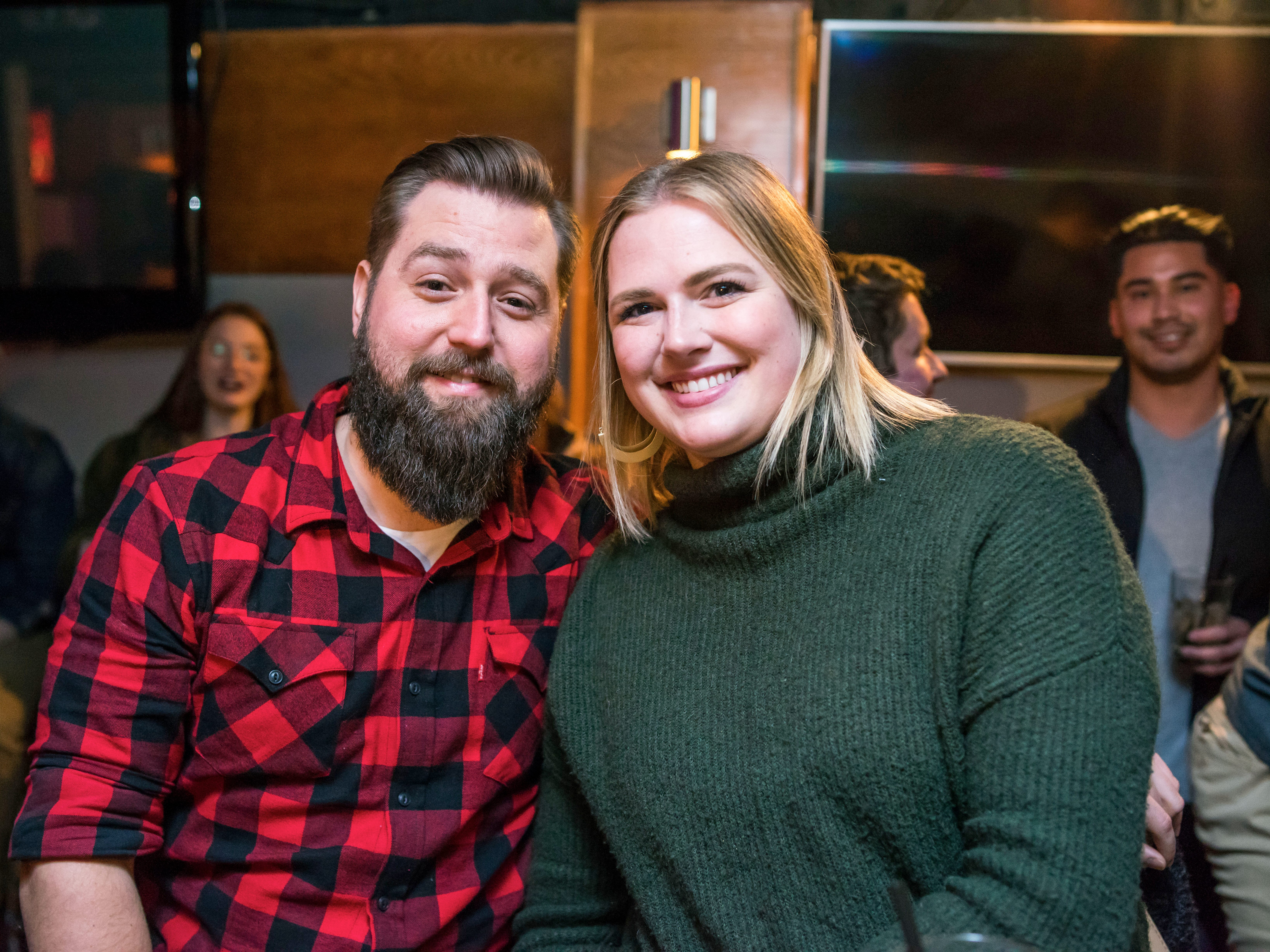Lindsey Lamair, 29, Riley Hawbauer, 34, having a fun night,Friday, Dec. 21, at the Bomb Shelter Comedy Showcase, hosted by the Beechwood.
