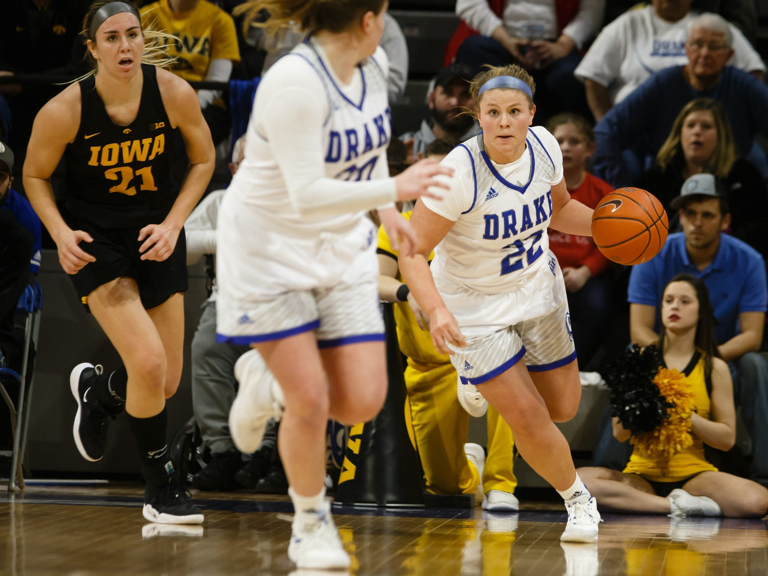 during their basketball game on Friday, Dec. 21, 2018, in Des Moines. Drake takes a 45-43 lead into halftime.