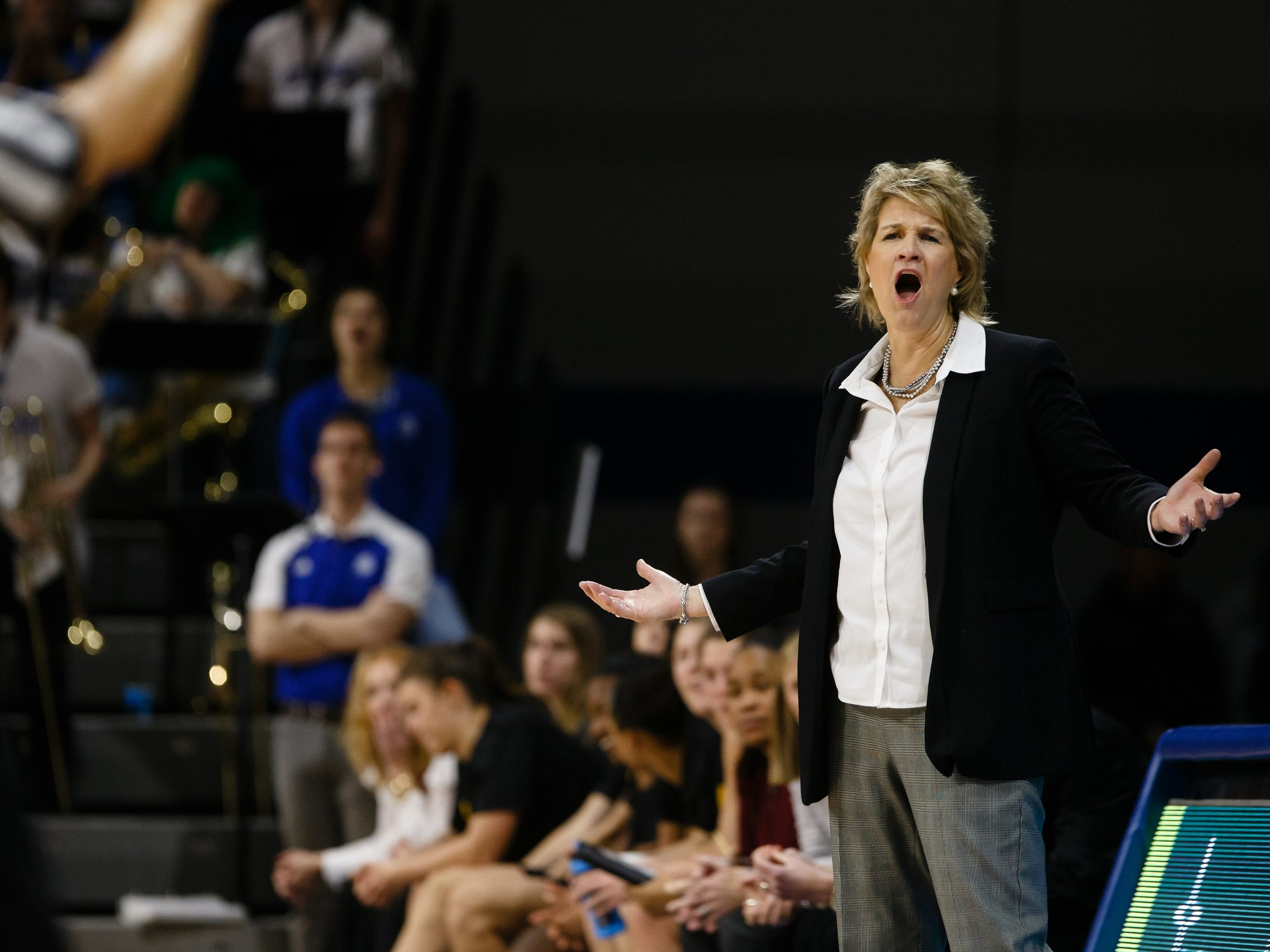 Iowa head coach Lisa Bluder argues a call during their basketball game on Friday, Dec. 21, 2018, in Des Moines. Iowa would go on to defeat Drake 91-82.