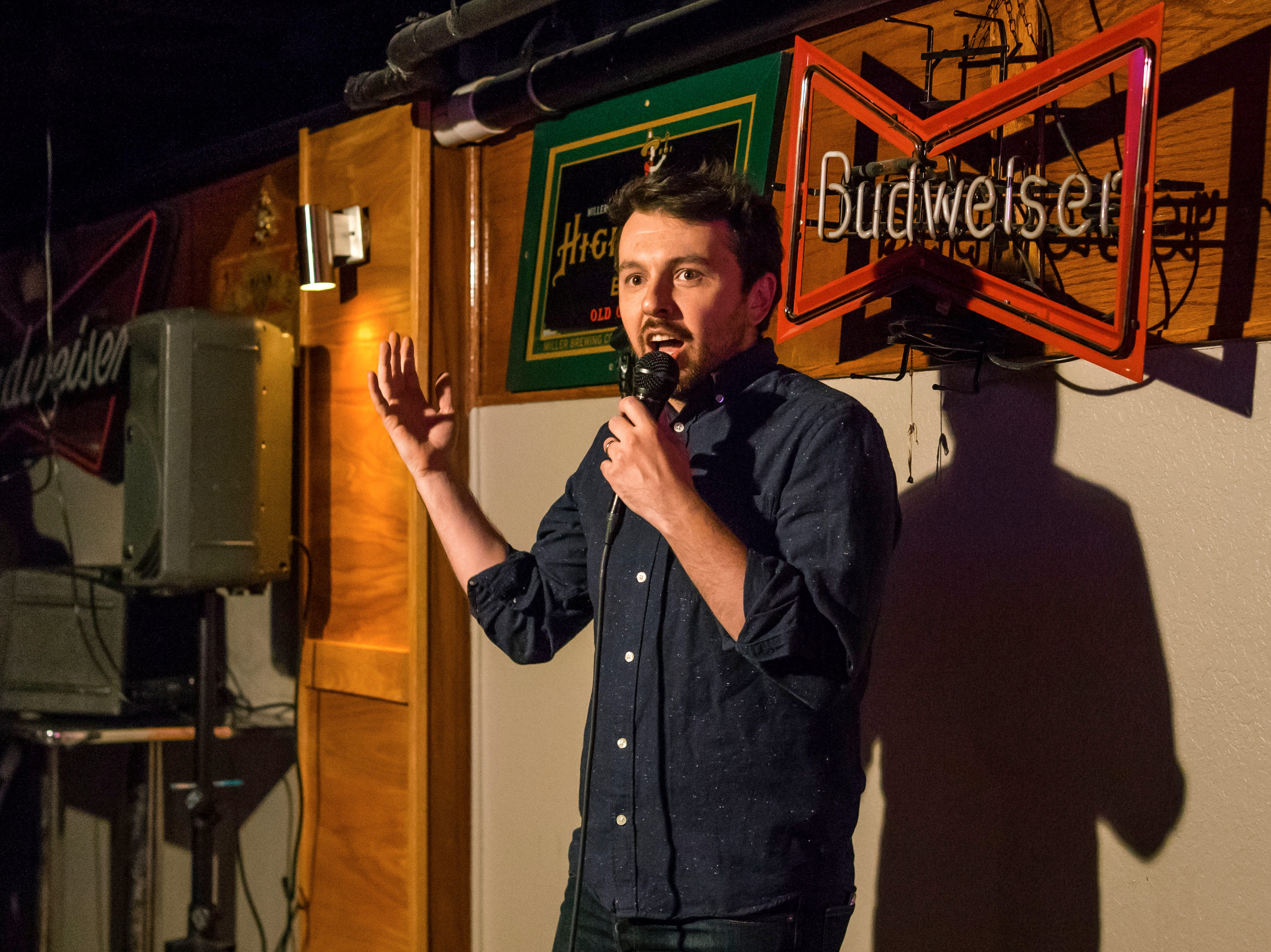 Ryan Solomon, 33, of Los Angeles, performing stand up comedy, Friday, Dec. 21, at the Bomb Shelter Comedy Showcase, hosted by the Beechwood.