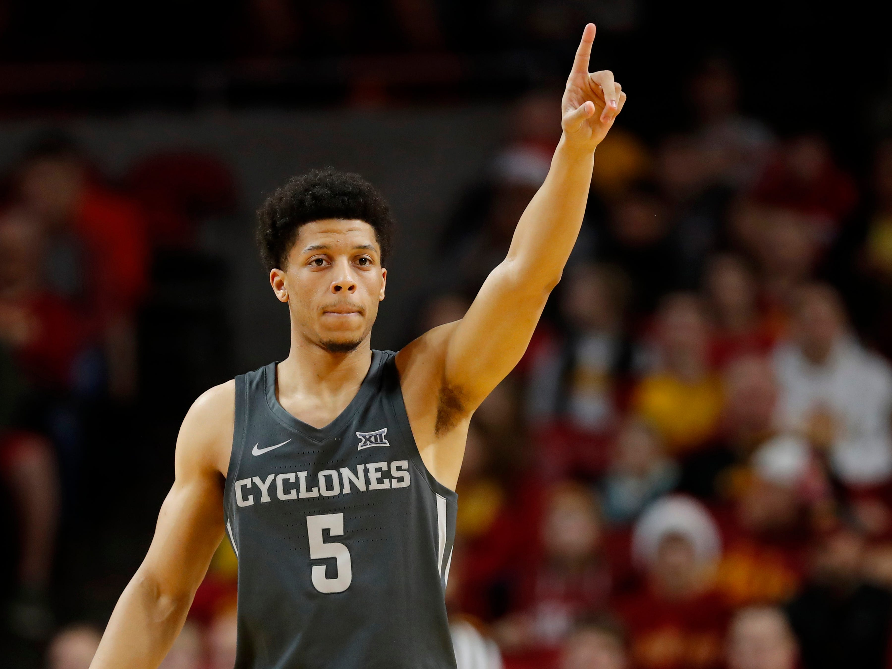 Iowa State guard Lindell Wigginton reacts after a basket during the first half of an NCAA college basketball game against Eastern Illinois, Friday, Dec. 21, 2018, in Ames, Iowa.