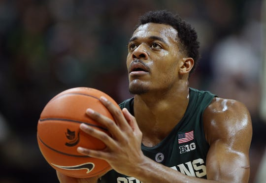 Michigan State Spartans forward Xavier Tillman (23) attempts a free throw during the second half of a game against the Oakland Golden Grizzlies at the Breslin Center.