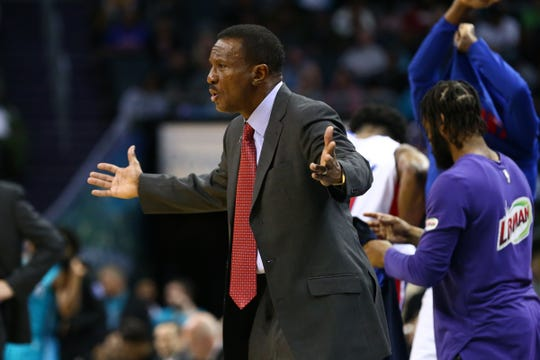 Dec 21, 2018; Charlotte, NC, USA; Detroit Pistons head coach Dwane Casey argues a call in the second half against the Charlotte Hornets at Spectrum Center. Mandatory Credit: Jeremy Brevard-USA TODAY Sports