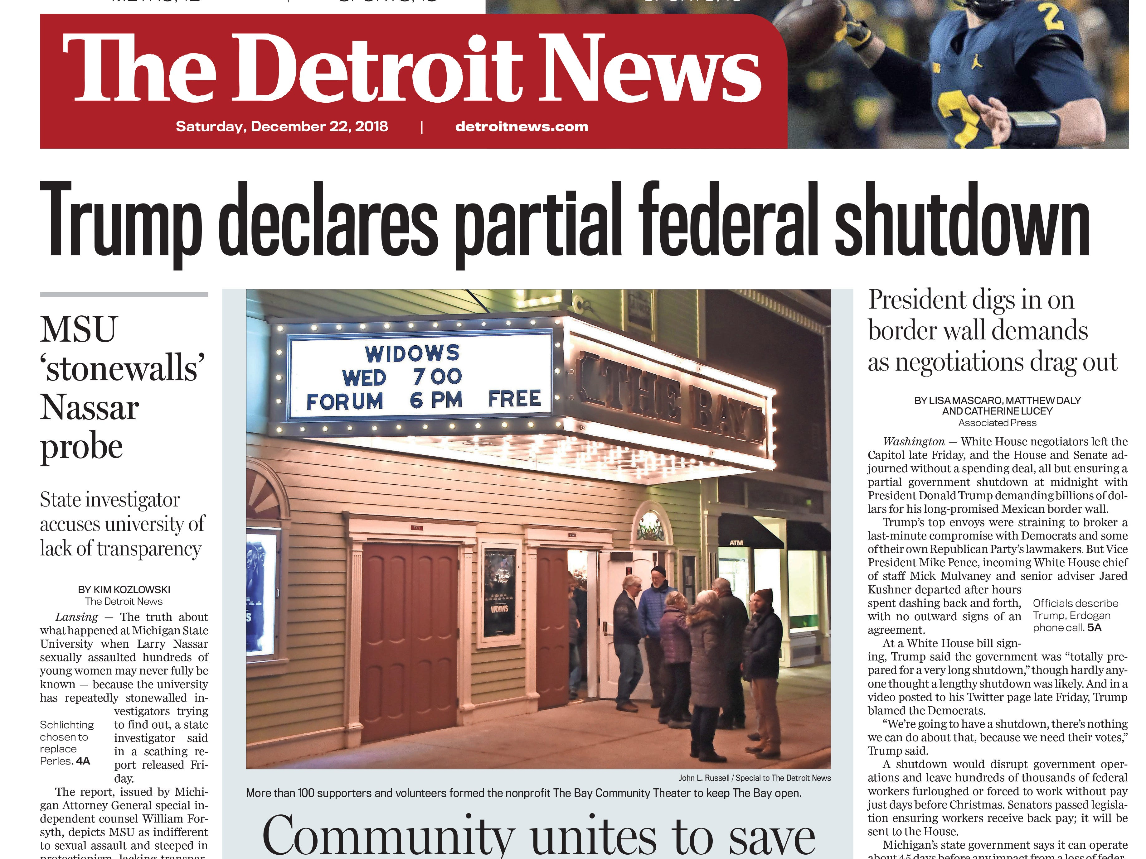 The front page of the Detroit News on Saturday, December 22, 2018.