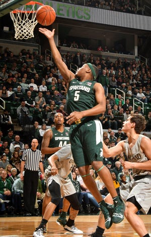 Led by guard Cassius Winston, Michigan State scored 47 fast-break points Oakland in Friday's win.